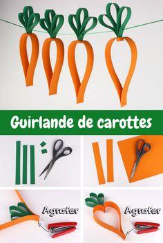 Guirlande de Pâques. Une carotte = 5 bandes de papier. Une activité pas chère, facile et amusante pour les enfants :)