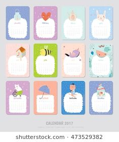 Cute Calendar Template for 2017. Yearly Planner Calendar with all Months. Set with Funny Illustrations Background. Good Organizer and Schedule for Kids. Vector.