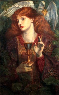 """The Damsel of the Sanct Grael,"" 1874. Dante Gabriel Rossetti (1828 – 1882). rich colors."