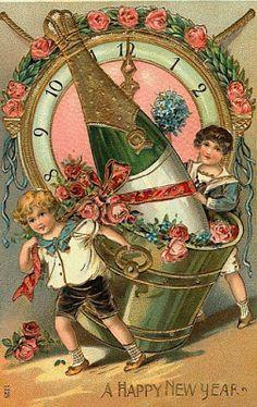 tubes nouvel an / victorien Antique Christmas, Vintage Christmas Cards, Christmas Images, Vintage Holiday, Vintage Happy New Year, Happy New Year Cards, New Year Greetings, Images Victoriennes, New Year Images
