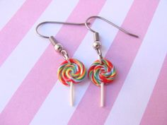 Rainbow Lollipop Earrings  Polymer Clay Food by TheLollipopStop, $14.00
