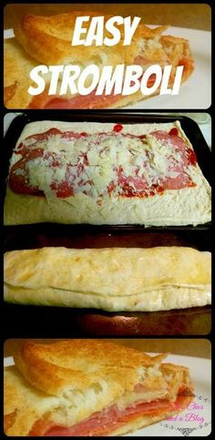 Easy Stromboli, a quick and easy weeknight dinner idea - use regular crust. Thin crust too soggy I Love Food, Good Food, Yummy Food, Easy Weeknight Meals, Quick Meals, Easy Dinners, Quiche, Great Recipes, Favorite Recipes