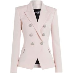 Balmain Wool Blazer ($2,419) ❤ liked on Polyvore featuring outerwear, jackets, blazers, rose, pink wool jacket, balmain, pink wool blazer, balmain blazer and pale pink jacket