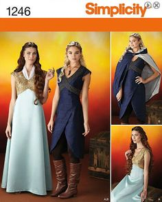 This medieval fantasy costume is designed for travel and adventure. Pattern includes floor length gown, high low day dress and close fitting knee