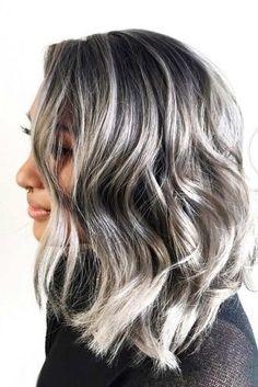 Gray Wigs Hair Cheap Human Hair Wigs For White WomenReverse Premature Grey Hair Hair Color 2017, Cool Hair Color, Hair Colors, Grey Hair With Bangs, Brown Hair, Short Grey Haircuts, Layered Haircuts, Premature Grey Hair, Black Hair With Highlights