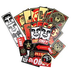 Who doesn't love stickers? Here's an Obey pack full of 'em. A whole pack is laid out in the detail shot(Approx. 30 stickers per pack, varying from large, med, and small sizes). Plus, they're made from