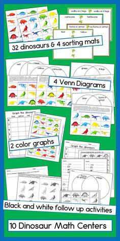 Dinosaur Math Graphing, Sorting and Venn Diagram Centers Dinosaurs Preschool, Preschool Math, Kindergarten Activities, Fun Math, Classroom Activities, Teaching Math, Student Learning, Learning Activities, Math Manipulatives