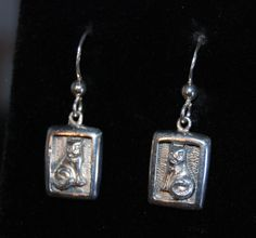 Vintage Kitty Cat Etched Embossed Cameo Sterling Drop Earrings #BKC-KERNG14 by BadKittyCrafts on Etsy