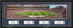 One framed large Denver Broncos stadium panoramic with openings for 1, 2, 3, or 4 ticket stubs*, double matted in team colors to 39 x 13.5 inches.  The lines show the bottom mat color.  $189.99 @ ArtandMore.com