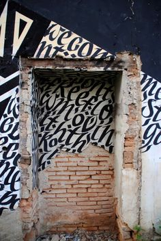 Illusion: Known for their consistent lettering style, Blaqk formed by members Greg Papagrigoriou and Simek have tagged their art on walls, windows, doors, and other spaces and objects.    (Photo © Blaqk)     http://illusion.scene360.com/art/31204/urban-caligraphy/