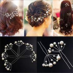 PD-2x-Weiss-Perlen-Mode-Haarnadeln-Haarschmuck-Hochzeit-Brautschmuck-Tiara-Diadem