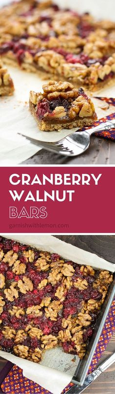 Need a holiday dessert for friends and family? These Cranberry Walnut Bars are sinfully rich but super easy to pull together. They make great holiday gifts, too! ~ http://www.garnishwithlemon.com
