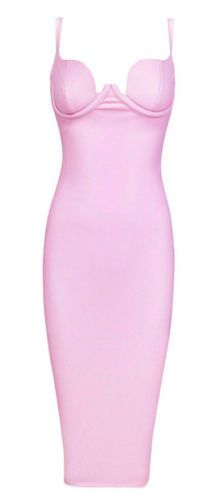 supper sexy, body-con fit, sleeveless, v- neck, length below knee, adjustable spaghetti straps, padded cups, back split, fully lined, exposed back zipper, Color - Pink Size -X-Small, Small, Medium, La