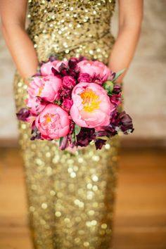 glitter dress bouquet