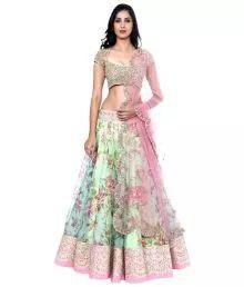 Fabian Fashion Multicoloured Bhagalpuri Silk Unstitched Lehenga
