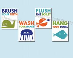 Bathroom Signs Brush Your Teeth fish tails bathroom signs - set of 4: wash hands, flush toilet