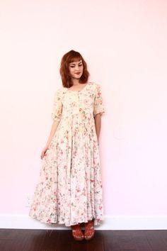 90s soft grunge maxi dress / 90s floral dress / boho by xYATESx