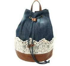 Denim Duffle Crochet Backpack (picture only) How to use old jeans Could re purpose jeans. Denim bucket with leather and lace trim- very nice! Posted by Brusilla Jeans Fabric, Patchwork Jeans, Denim Quilts, Crochet Backpack, Jean Purses, Denim Handbags, Denim Ideas, Denim Crafts, Recycled Denim
