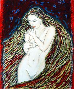 Bildname: Madonna / Orginal / Material: Tusche+Stift auf Zeichenkarton, lackiert / Beschreibung: 2012 gemalt / Bildgröße: b 70 cm x h 102 cm / Reinhard Schäffler