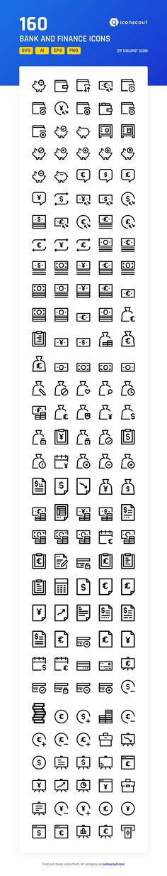 Bank And Finance  Icon Pack - 160 Line Icons