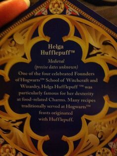 Helga Hufflepuff (Founder of my house) Chocolate Frog Card 2