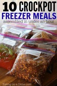 10 Crockpot Freezer meals ready in an hour -Frozen Crock pot meal