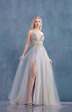 Andrea and Leo smokey blue tulle prom dress - Mia Bella Couture Pretty Prom Dresses, Cute Dresses, Beautiful Dresses, Prom Dresses Blue, Amazing Prom Dresses, Prom Dresses Long Sleeve, Different Prom Dresses, Prom Gowns Elegant, Gorgeous Dress