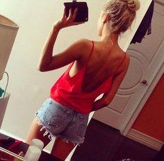 Red Tank + Jean Shorts