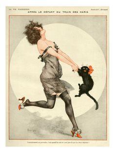 1923 La Vie Parisienne vintage illustration lady dancing with cat Art Vintage, Vintage Posters, French Vintage, Vintage Clocks, Funny Vintage, Vintage Prints, Crazy Cat Lady, Crazy Cats, Kunst Poster