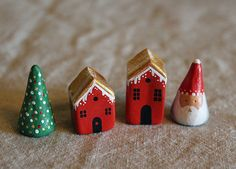 Little Christmas Village Collectable clay by FigurateShop on Etsy