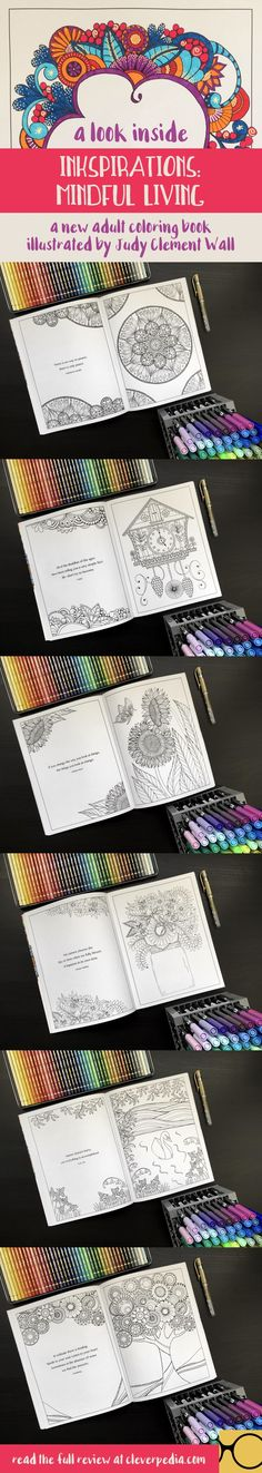A look inside Inkspirations: Mindful Living, a new adult coloring book illustrated by Judy Clement Wall. This beautiful new adult coloring book encourages stress relief, mindfulness, and peaceful reflection. Read the full review by clicking through to Cleverpedia!