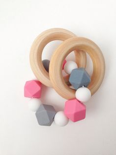 Silicone Teething Rattle, Teething Ring, Pink Teething Beads, Wood Teething…