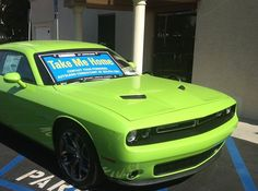 This sweet #Dodge #Challenger is on display with our partner First Entertainment Credit Union in Burbank, CA. They say it's not easy being green, but this baby sure helps!
