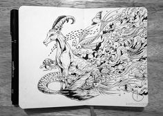 Kerby Rosanes makes insanely complicated drawings look great on his humble and rather small Moleskine notebook. Here are a few examples.
