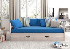 cama sofá en color blanco nórdico de 90 cm