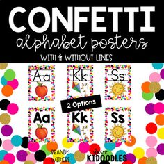 Confetti and White Alphabet Posters with 2 options - with and without handwriting lines.