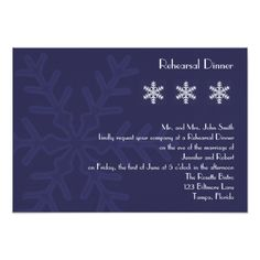 Navy Blue Snowflake Wedding Rehearsal Dinner Card