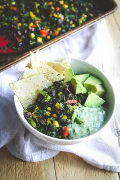 Vegetarian sheet dinner -Mexican kale salad recipe from @Sweetphi perfect for a vegetarian gluten free Meatless Monday recipe