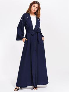 #MakeMeChic - #MAKEMECHIC Pearl Embellished Self Belt Abaya - AdoreWe.com