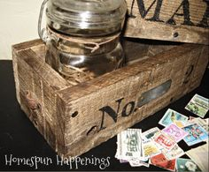 Boxes Made From Pallet Wood + excellent ideas on ways to dress them up, including labeling with graphics & using a repurposed leather belt to make straps.
