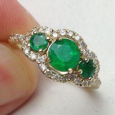 1.20CT Emerald & Diamond 3 Stone Engagement by Pompeii3 on Etsy