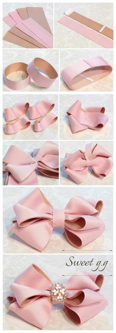 Wonderful Ribbon Embroidery Flowers by Hand Ideas. Enchanting Ribbon Embroidery Flowers by Hand Ideas. Ribbon Art, Diy Ribbon, Ribbon Crafts, Ribbon Bows, Diy Crafts, Ribbons, Baby Bows, Baby Headbands, Bow Tutorial