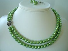 Two Strand Olive Green Pearl