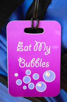 Eat My Bubbles Bag Tag Sport Bag Tag Swim Team Bag by FlipTurnTags, $5.95