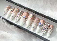 Swarovski Ombre Press on Nails | Genuine Swarovski | Swarovski Pixie | French Tip | AB Crystals | False Nails | Custom Shapes and Sizes by DippyCowNails on Etsy