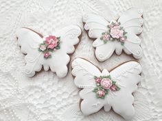 Summer Cookies, Fancy Cookies, Valentine Cookies, Cute Cookies, Easter Cookies, Royal Icing Cookies, Cookies And Cream, Elegant Cookies, Butterfly Cookies