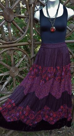 5 tiered gypsy broomstick skirt rayon and velvet by LamplightGifts, $23.75