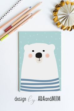 Sweet delicate polar bear in stripes. Printable wall Art for Kids Room and Nursery by AdaAndMum on Etsy Printable Posters for Kids Room and Nursery. Simple, Colourful and Wonderful Digital Downloadable Wall Art from different online shops!