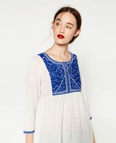 Image 2 of BLOUSE WITH EMBROIDERED BIB FRONT from Zara