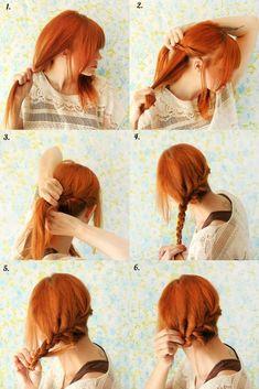 readhead, braid, cute hairstyle, simple hair